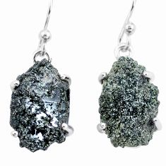 925 silver 18.06cts natural green seraphinite in quartz dangle earrings p16704