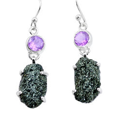 19.42cts natural green seraphinite in quartz amethyst 925 silver earrings p16723