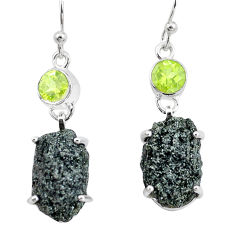 21.48cts natural green seraphinite in quartz peridot 925 silver earrings p16724