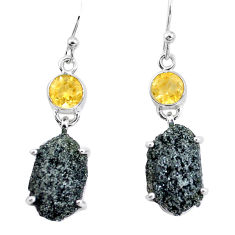 21.65cts natural green seraphinite in quartz citrine 925 silver earrings p16725