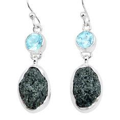 17.80cts natural green seraphinite in quartz topaz 925 silver earrings p16726