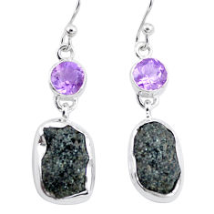 15.11cts natural green seraphinite in quartz amethyst 925 silver earrings p16727
