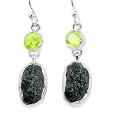 17.31cts natural green seraphinite in quartz peridot 925 silver earrings p16728