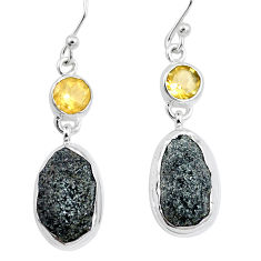925 silver 17.67cts natural green seraphinite in quartz citrine earrings p16729