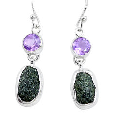 13.77cts natural green seraphinite in quartz amethyst 925 silver earrings p16730