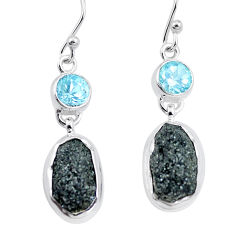 15.44cts natural green seraphinite in quartz topaz 925 silver earrings p16731