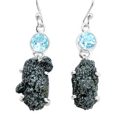 925 silver 21.68cts natural green seraphinite in quartz topaz earrings p16732