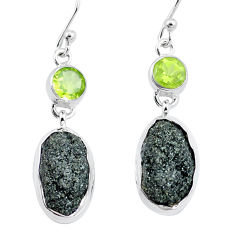 925 silver 19.48cts natural green seraphinite in quartz peridot earrings p16733