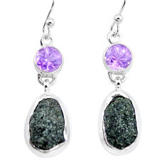 925 silver 15.39cts natural green seraphinite in quartz amethyst earrings p16734