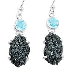 925 silver 22.90cts natural green seraphinite in quartz topaz earrings p16735