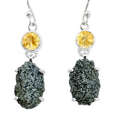 22.30cts natural green seraphinite in quartz citrine 925 silver earrings p16736