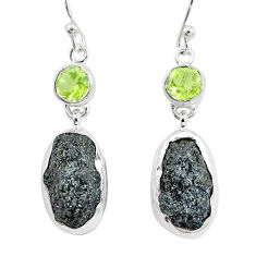 18.47cts natural green seraphinite in quartz peridot 925 silver earrings p16737