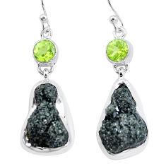 22.29cts natural green seraphinite in quartz peridot 925 silver earrings p16738