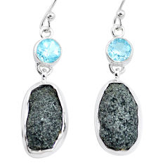 925 silver 21.30cts natural green seraphinite in quartz topaz earrings p16739