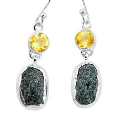 15.47cts natural green seraphinite in quartz citrine 925 silver earrings p16740