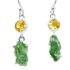 9.80cts natural green moldavite citrine 925 silver dangle earrings p16758
