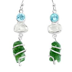 18.06cts natural green moldavite herkimer diamond 925 silver earrings p16791