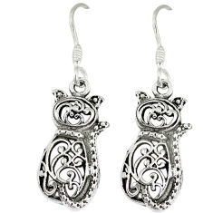 Indonesian bali style solid 925 sterling silver dangle cat earrings p1684