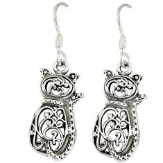 925 sterling silver indonesian bali style solid dangle cat earrings p1685