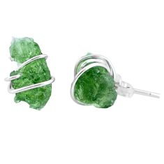 925 silver 5.77cts natural green moldavite (genuine czech) stud earrings p16867