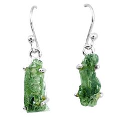 925 silver 8.49cts natural green moldavite (genuine czech) earrings p16884