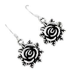 Indonesian bali style solid 925 sterling silver dangle flower earrings p1689
