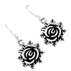 Indonesian bali style solid 925 sterling silver flower earrings jewelry p1707