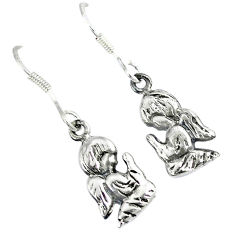 Indonesian bali style solid 925 silver dangle baby angel prayer earrings p1721