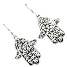 Indonesian bali style solid 925 silver hand of god hamsa earrings jewelry p1734