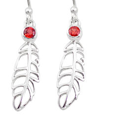 0.66cts natural red garnet 925 sterling silver feather earrings jewelry p17554