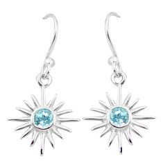 925 sterling silver 1.06cts natural blue topaz dangle earrings jewelry p17590