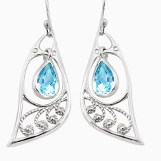 925 sterling silver 5.11cts natural blue topaz dangle earrings jewelry p17603