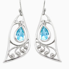 5.87cts natural blue topaz 925 sterling silver dangle earrings jewelry p17605