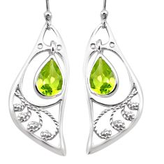 4.82cts natural green peridot 925 sterling silver dangle earrings jewelry p17610