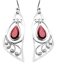 4.82cts natural red garnet 925 sterling silver dangle earrings jewelry p17614