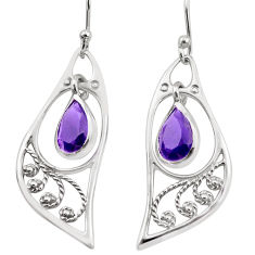 4.87cts natural purple amethyst 925 sterling silver dangle earrings p17617