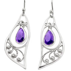 4.43cts natural purple amethyst 925 sterling silver dangle earrings p17620