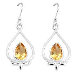 5.38cts natural yellow citrine 925 sterling silver dangle earrings p17622