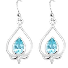 5.63cts natural blue topaz 925 sterling silver dangle earrings jewelry p17625