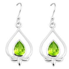 5.38cts natural green peridot 925 sterling silver dangle earrings jewelry p17633