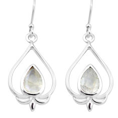 5.38cts natural rainbow moonstone 925 sterling silver dangle earrings p17639
