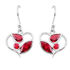 7.01cts natural red garnet 925 sterling silver dangle earrings jewelry p17661