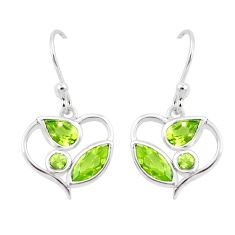 6.64cts natural green peridot 925 sterling silver dangle earrings jewelry p17665