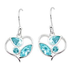 925 sterling silver 7.24cts natural blue topaz dangle earrings jewelry p17673