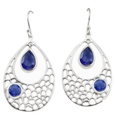 8.65cts natural blue iolite 925 sterling silver dangle earrings jewelry p17705