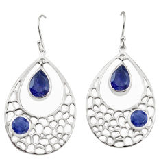 8.14cts natural blue iolite 925 sterling silver dangle earrings jewelry p17707