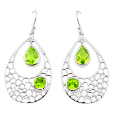 925 sterling silver 8.93cts natural green peridot dangle earrings jewelry p17708