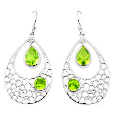 8.35cts natural green peridot 925 sterling silver dangle earrings jewelry p17710