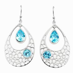 925 sterling silver 8.03cts natural blue topaz dangle earrings jewelry p17712