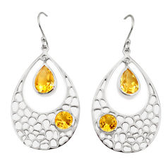 8.14cts natural yellow citrine 925 sterling silver dangle earrings p17716